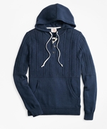 Cable-Knit Hooded Henley Sweater 썸네일 이미지 1