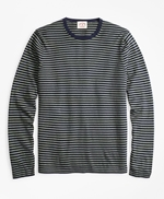 Cotton-Cashmere Striped Crewneck Sweater 썸네일 이미지 1