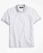 Slim Fit Cotton and Linen Stripe Collar Polo Shirt 썸네일 이미지 1