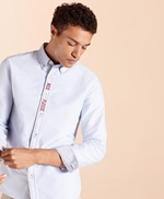 Red Fleece Embroidered Cotton Oxford Shirt 썸네일 이미지 1
