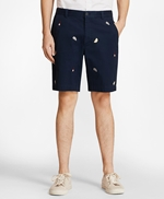 Embroidered Oyster Cotton Twill Shorts 썸네일 이미지 1