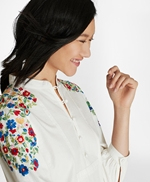 Floral-Embroidered Cotton Poplin Peasant Blouse 썸네일 이미지 1