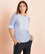 Embroidered Striped Cotton Poplin Blouse 썸네일 이미지 1