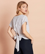 Shimmer Stripe Linen-Cotton Tie-Back Blouse 썸네일 이미지 1