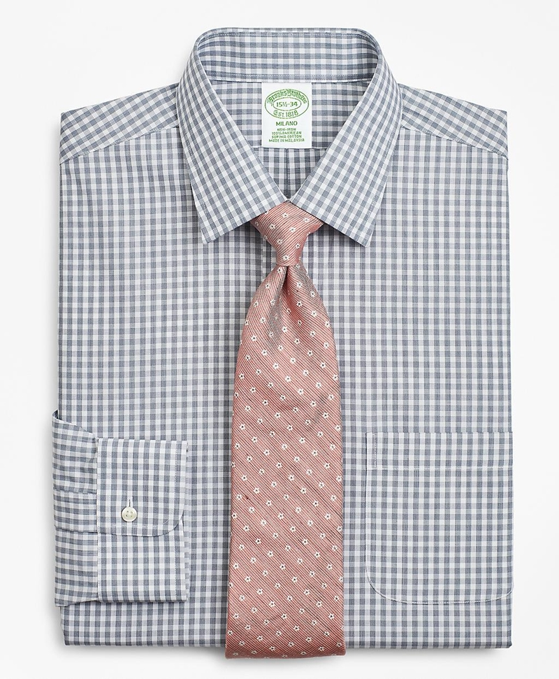 Milano Slim-Fit Dress Shirt, Non-Iron Check 썸네일 이미지 1