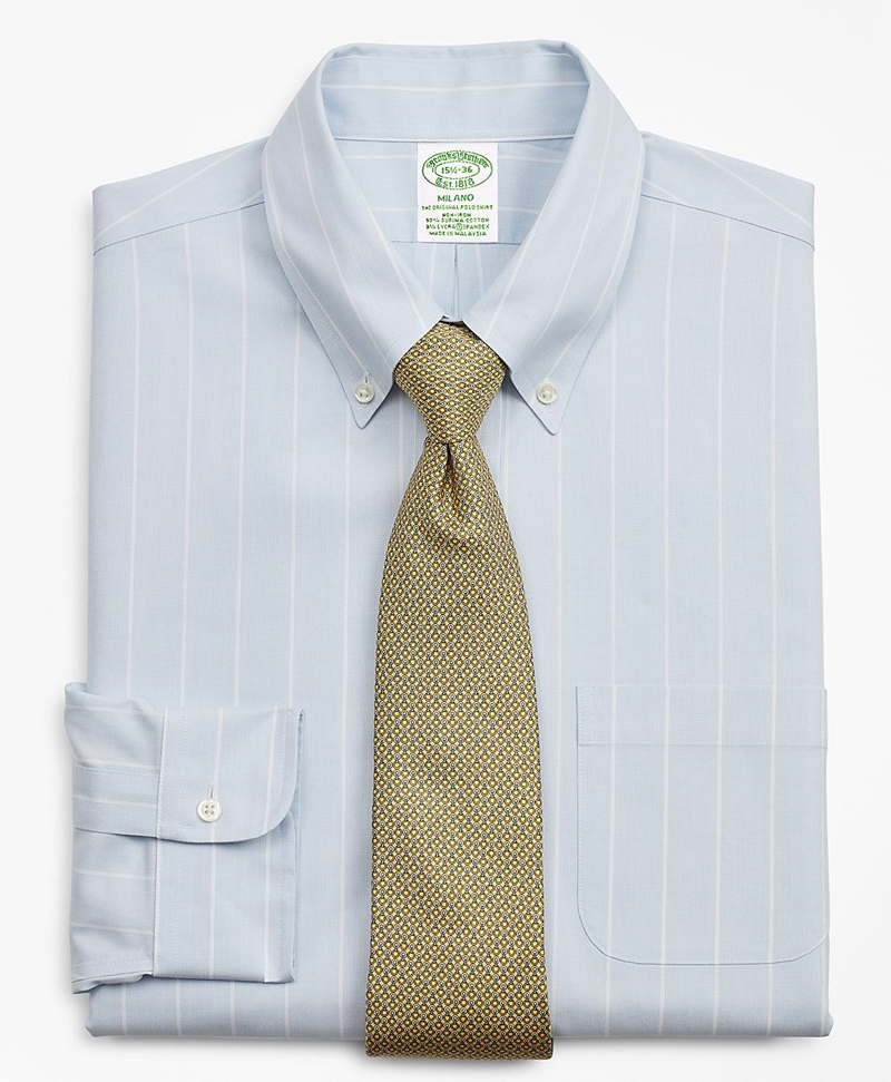 Stretch Milano Slim-Fit Dress Shirt, Non-Iron Pinstripe 썸네일 이미지 1