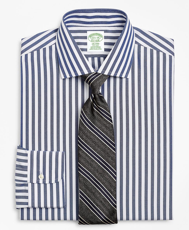 Milano Slim-Fit Dress Shirt, Non-Iron Stripe 썸네일 이미지 1