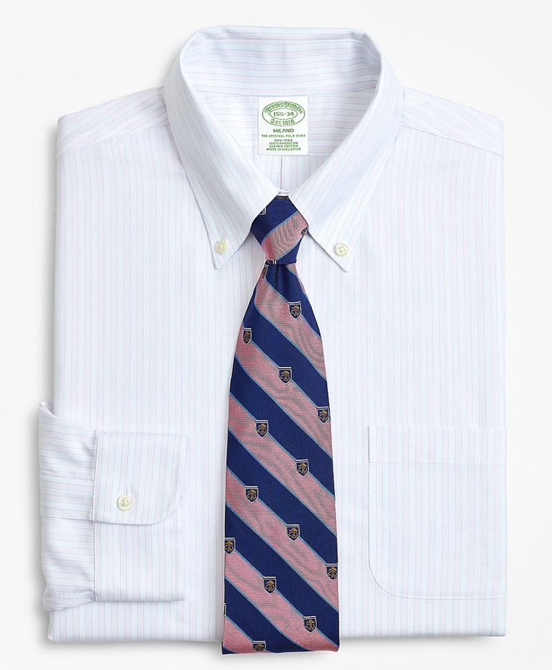 BrooksCool® Milano Slim-Fit Dress Shirt, Non-Iron Stripe 썸네일 이미지 1