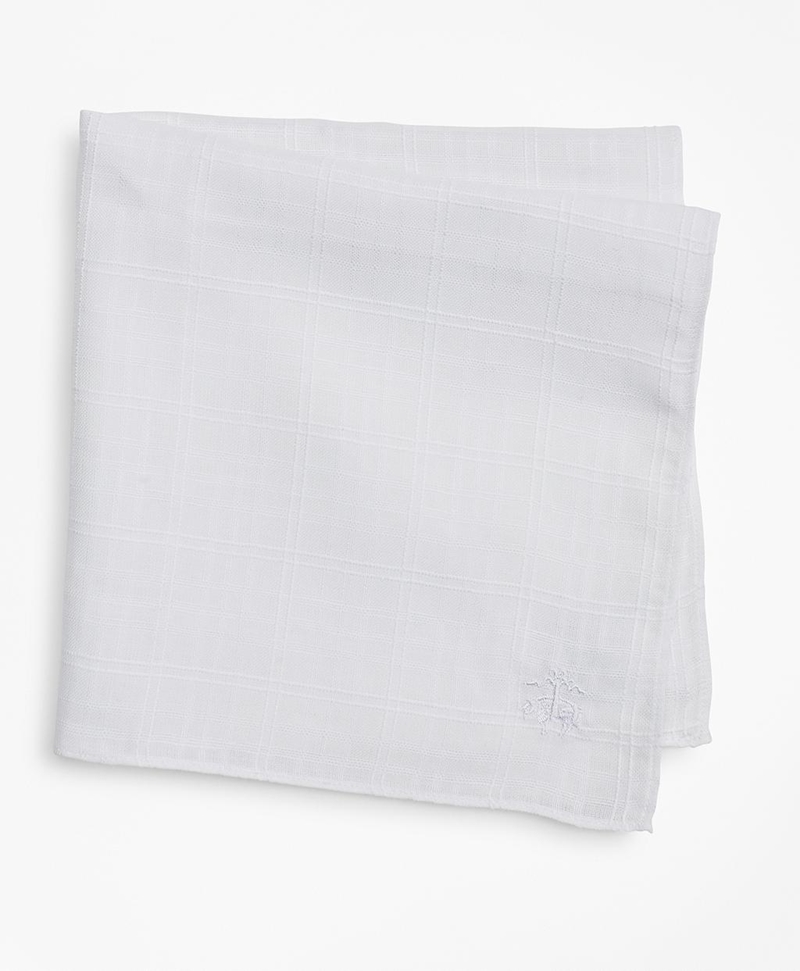 Textured Windowpane Linen Pocket Square 썸네일 이미지 1