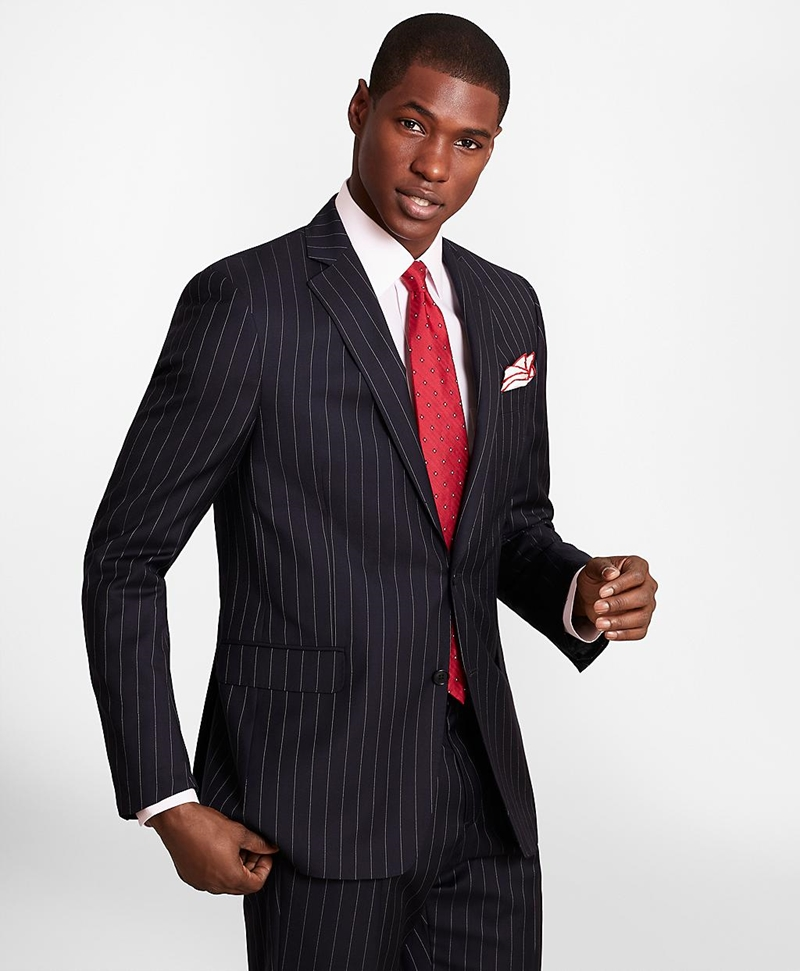 BrooksGate™ Regent-Fit Bead-Stripe Twill Suit Jacket 썸네일 이미지 1