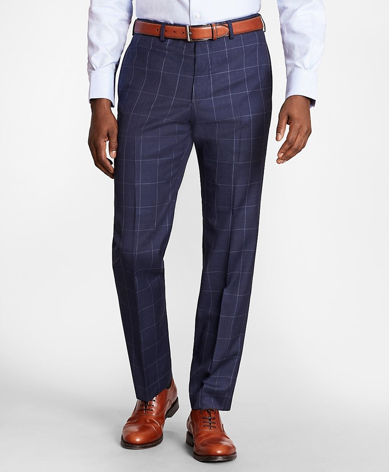 BrooksGate™ Regent-Fit Windowpane Wool Twill Suit Pants 썸네일 이미지 1
