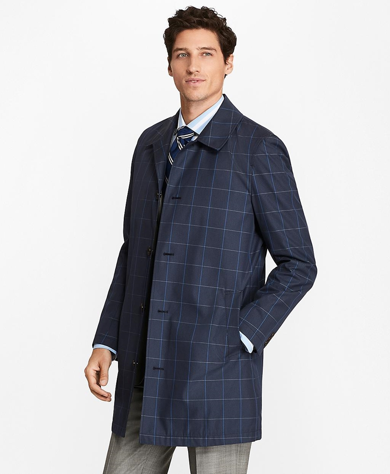 Windowpane Water-Repellent Trench Coat 썸네일 이미지 1