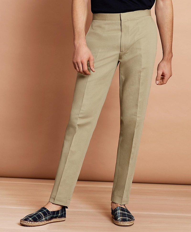 Linen-Blend Twill Trousers 썸네일 이미지 1
