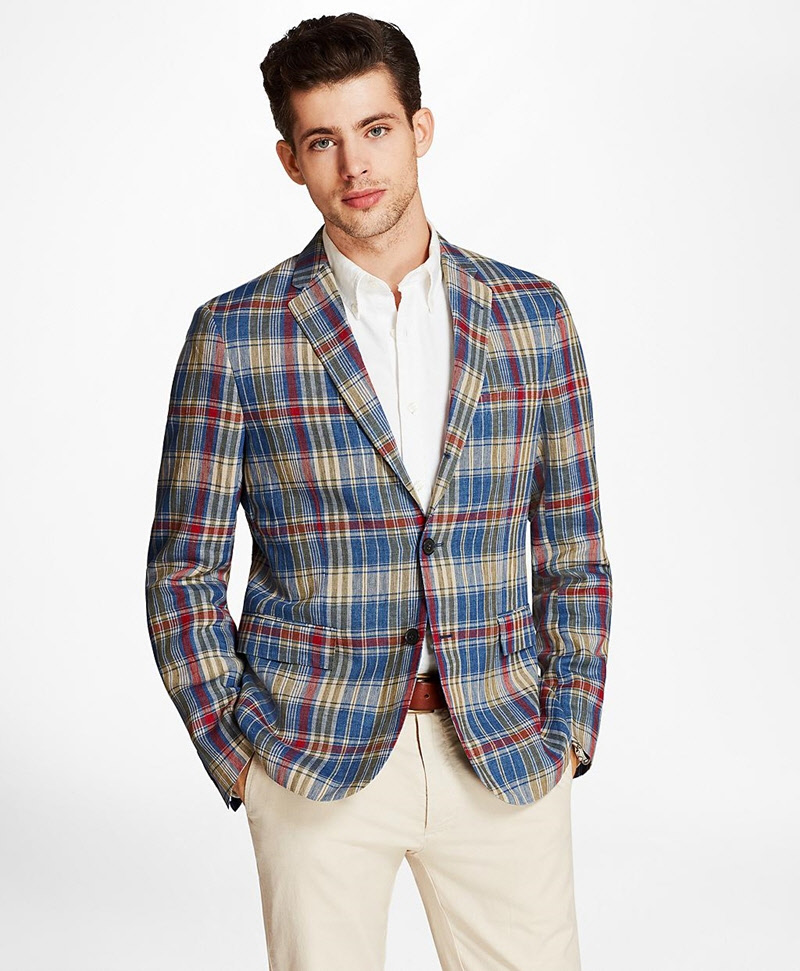 Plaid Three-Button Linen Twill Sport Coat 썸네일 이미지 1