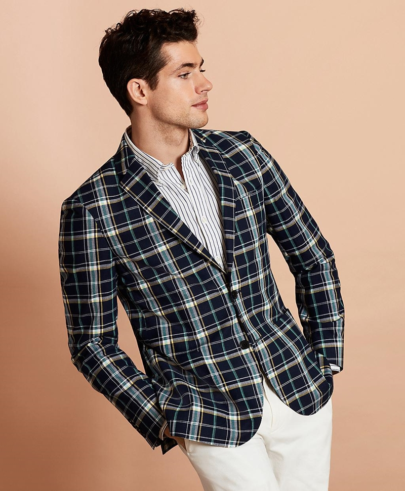 Madras Cotton Two-Button Sport Coat 썸네일 이미지 1