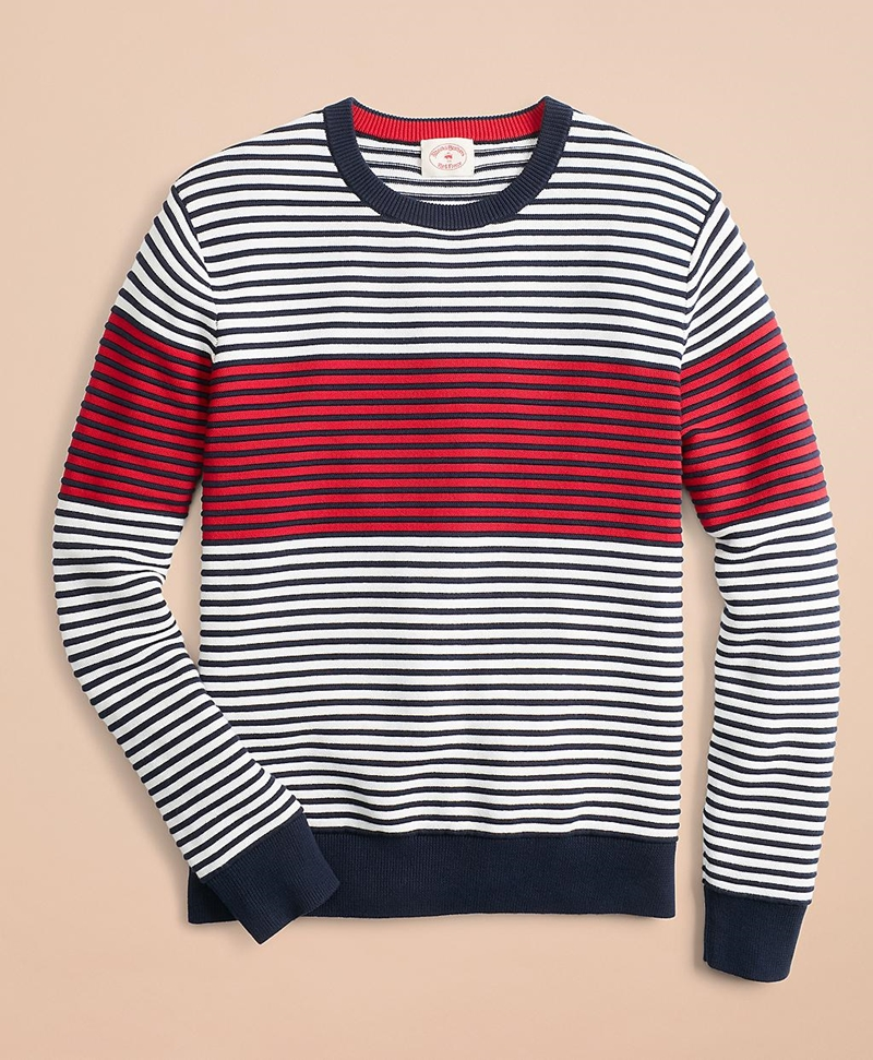 Color-Block Textured Striped Crewneck Sweater 썸네일 이미지 1