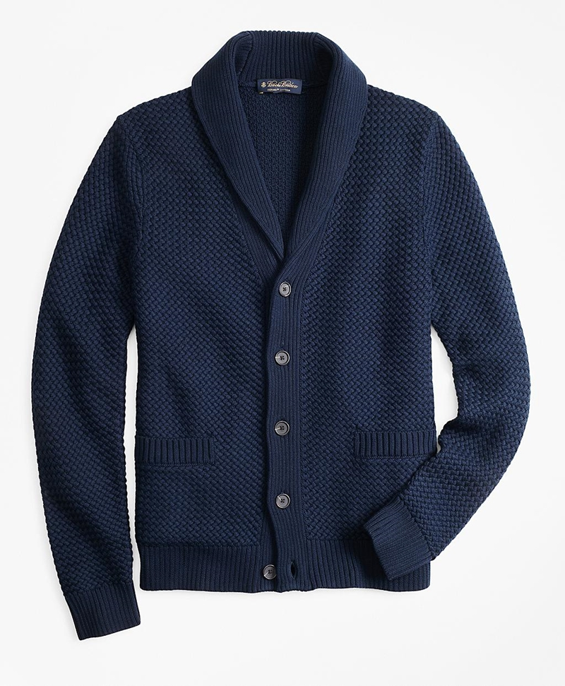 Basket Stitch Shawl Collar Cardigan 썸네일 이미지 1