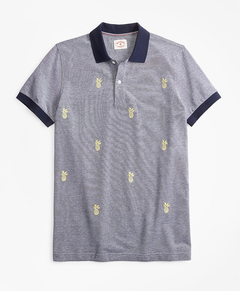 Embroidered Pineapple Cotton Pique Polo Shirt 썸네일 이미지 1