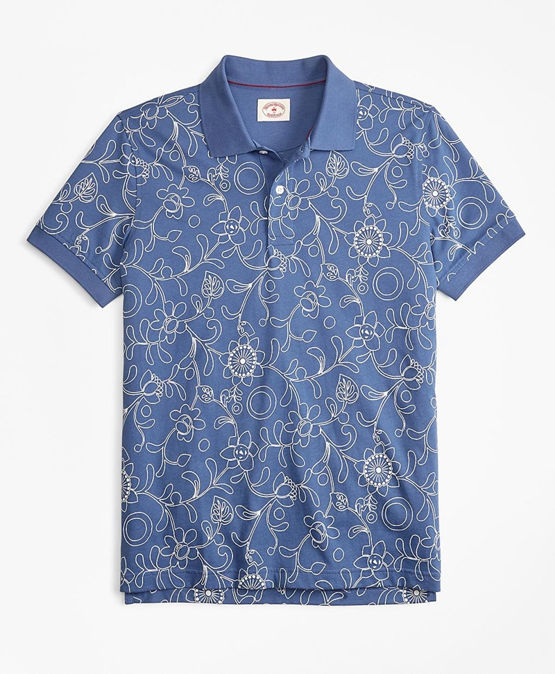 Botanical-Print Cotton Jersey Polo Shirt 썸네일 이미지 1