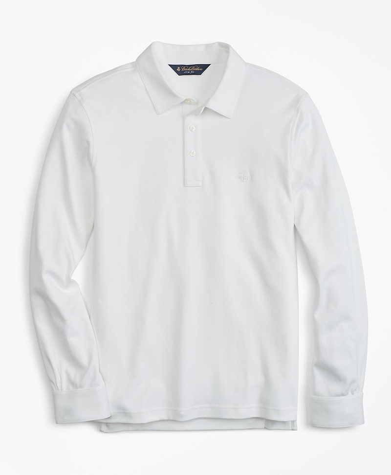 Slim Fit Cotton Jersey Long-Sleeve Polo Shirt 썸네일 이미지 1