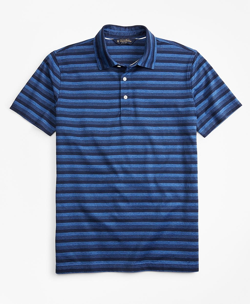 Slim Fit Cotton Jersey Stripe Polo Shirt 썸네일 이미지 1