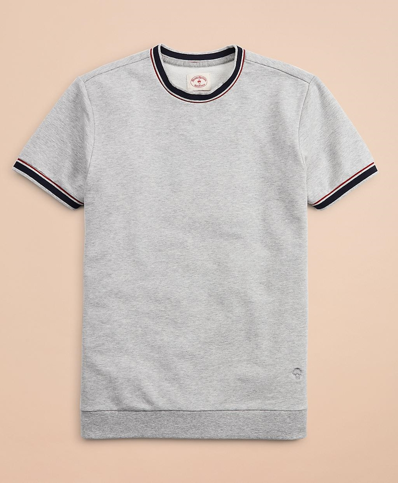 French Terry Short-Sleeve Contrast Sweatshirt 썸네일 이미지 1