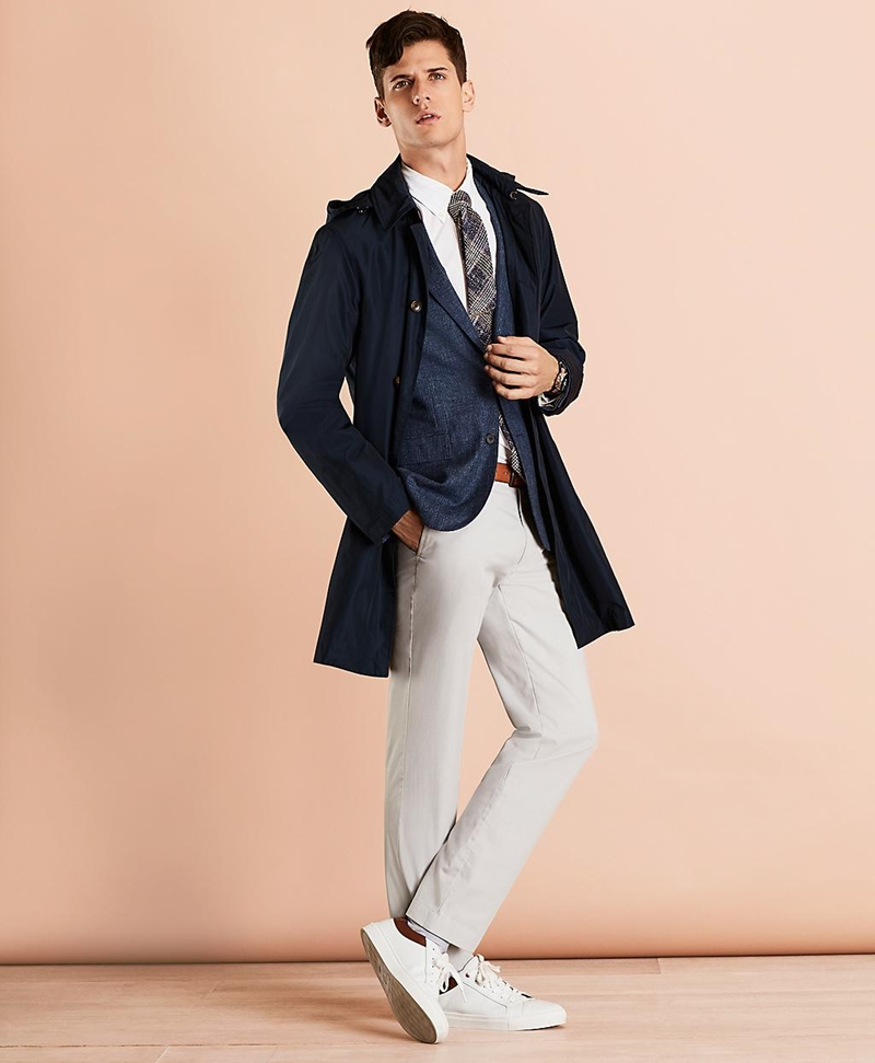 Water-Repellent Hooded Trench Coat 썸네일 이미지 1