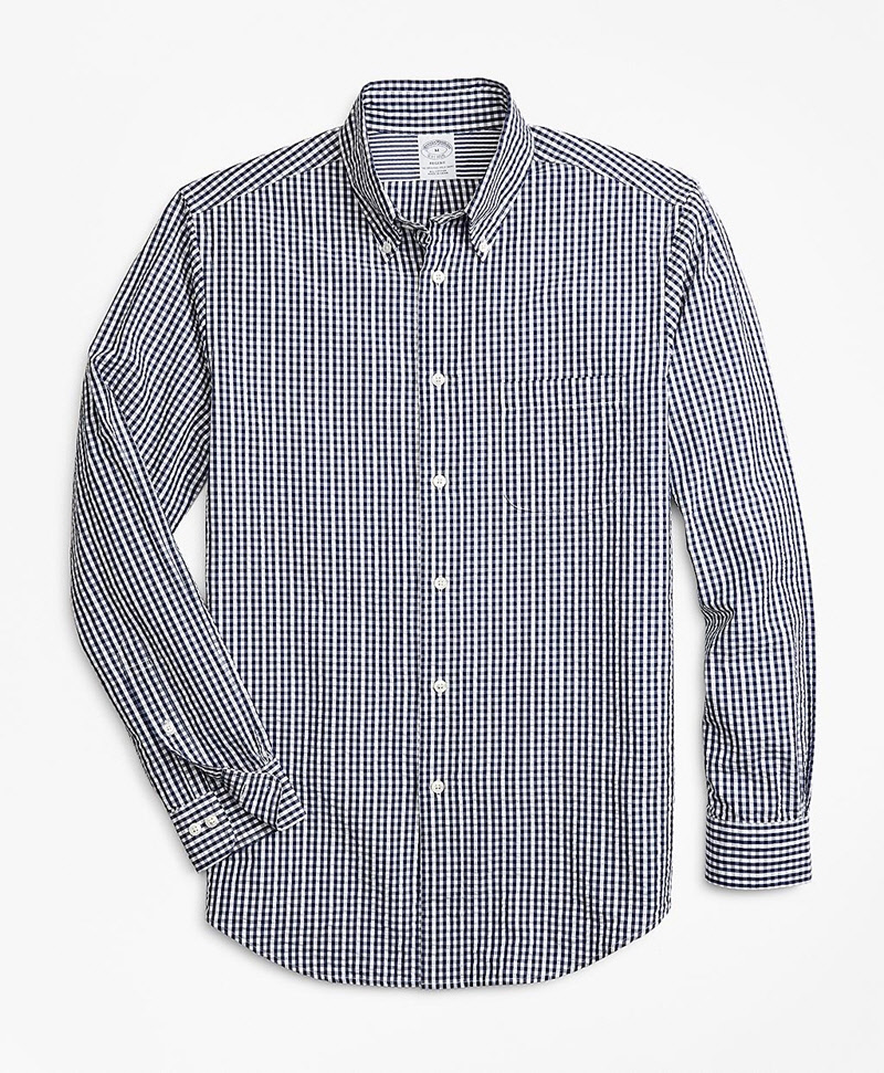 Regent Fit Gingham Seersucker Sport Shirt 썸네일 이미지 1