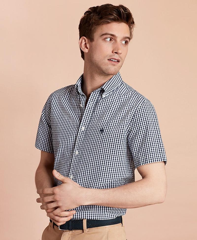 Gingham Seersucker Short-Sleeve Sport Shirt 썸네일 이미지 1