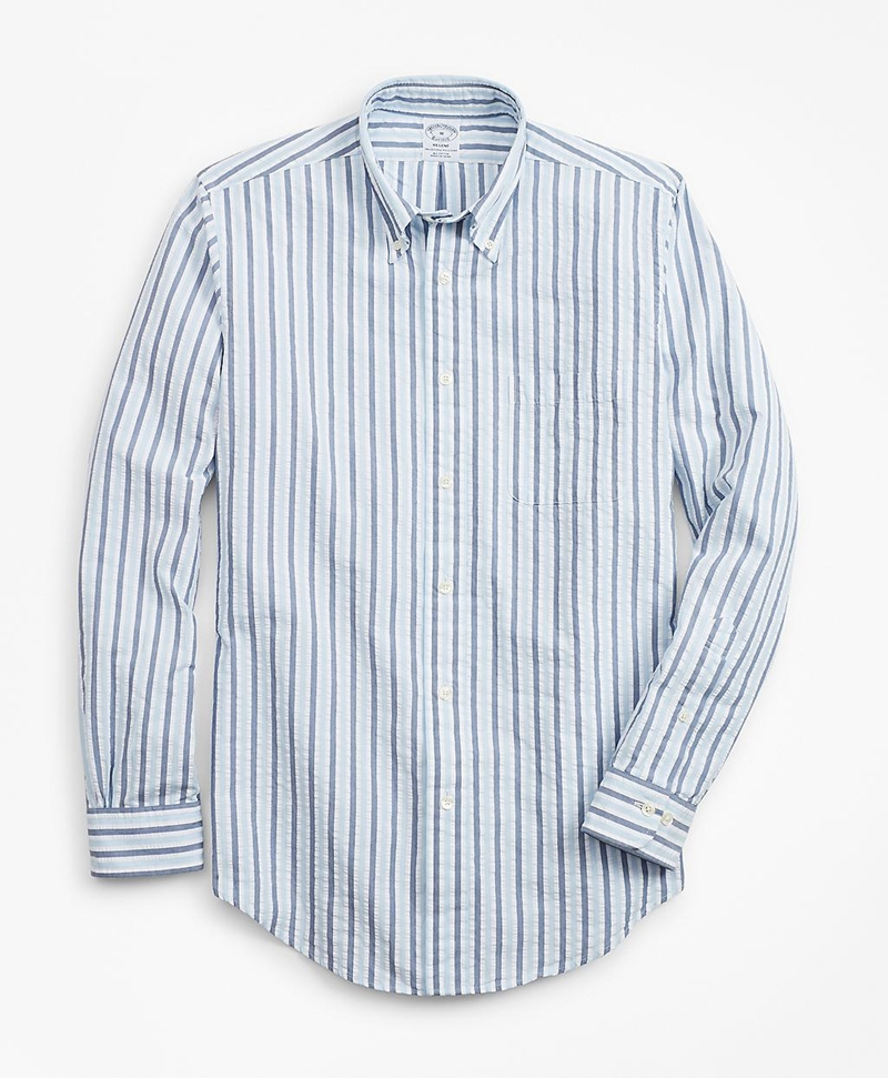 Regent Fit Bold Stripe Seersucker Sport Shirt 썸네일 이미지 1