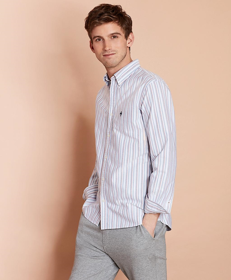 Multi-Stripe Cotton Oxford Sport Shirt 썸네일 이미지 1