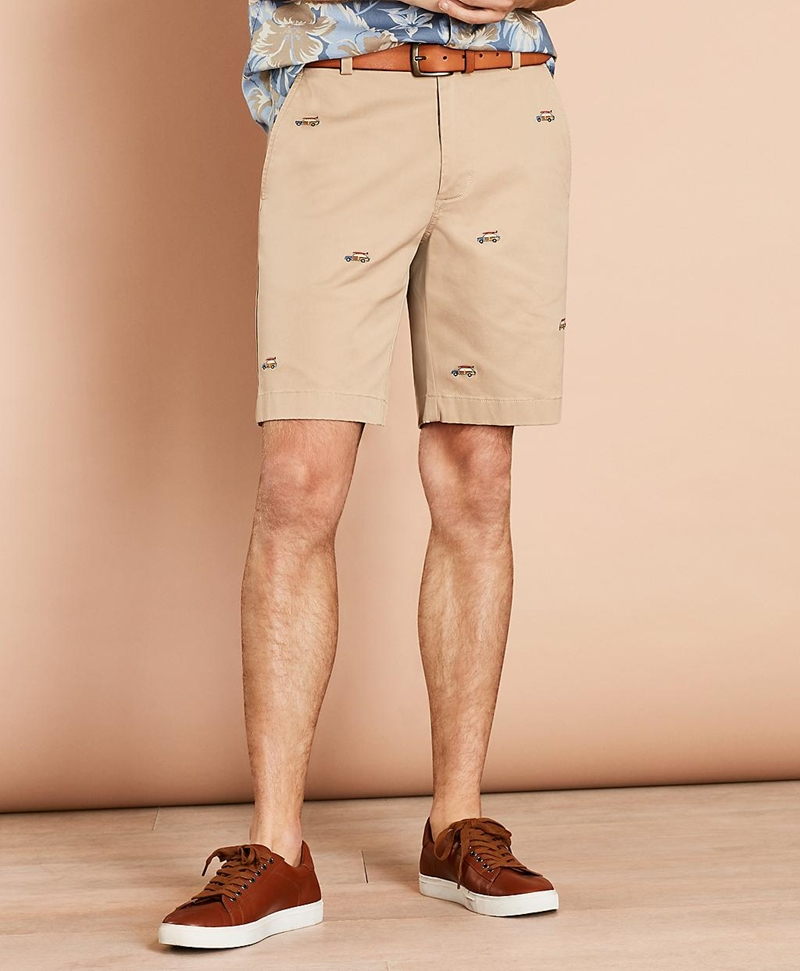Embroidered Car Cotton Twill Shorts 썸네일 이미지 1