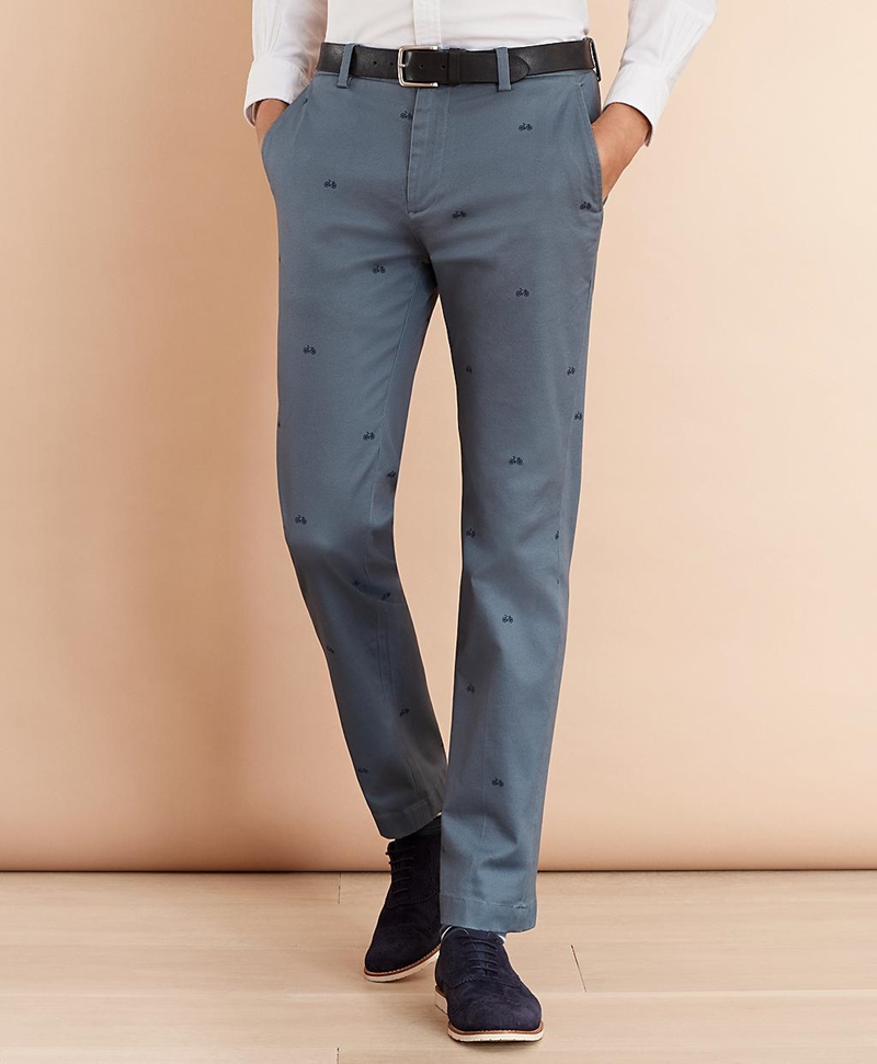 Bicycle-Print Cotton Twill Chinos 썸네일 이미지 1