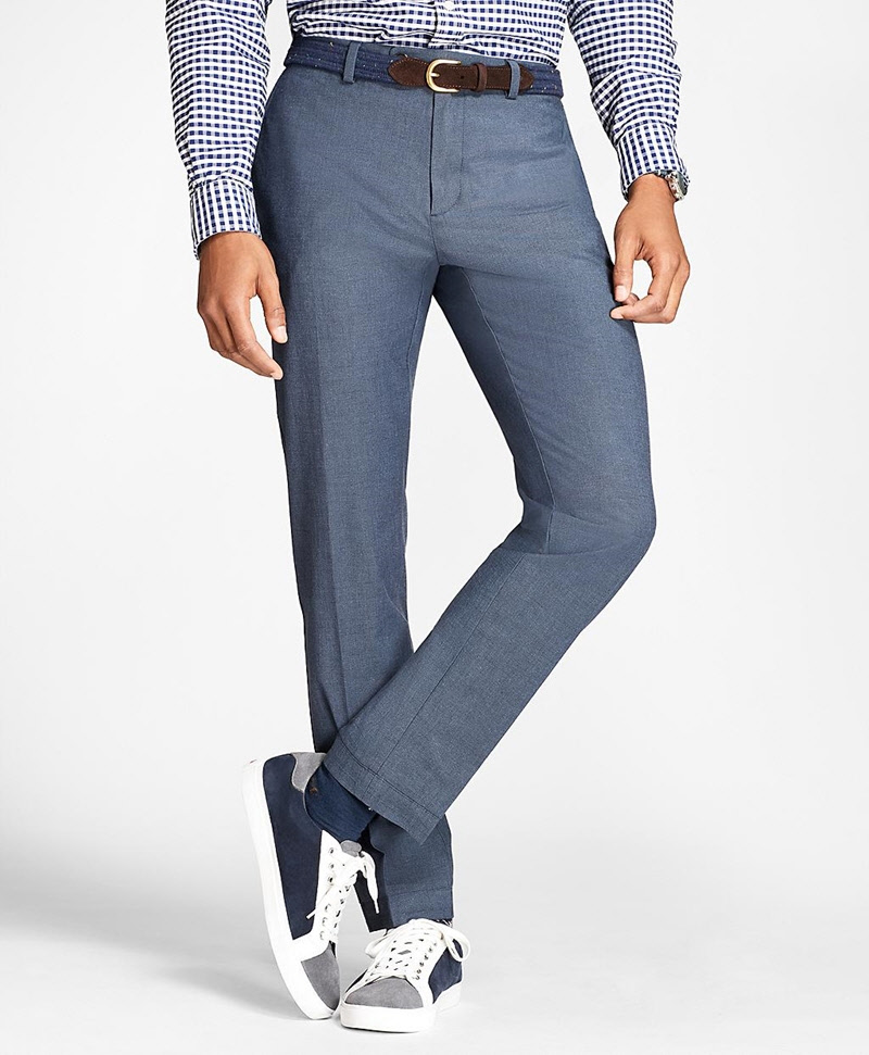 Slim-Fit Stretch-Cotton End-On-End Pants 썸네일 이미지 1