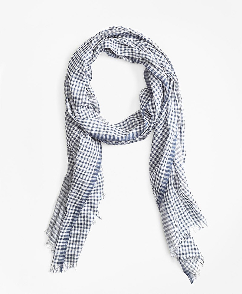 Gingham Cotton Gauze Scarf 썸네일 이미지 1