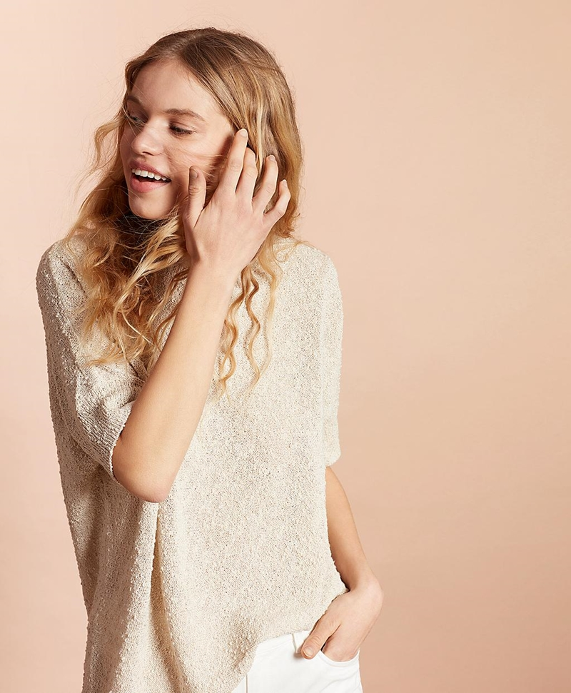 Shimmer Boucle-Knit Sweater 썸네일 이미지 1