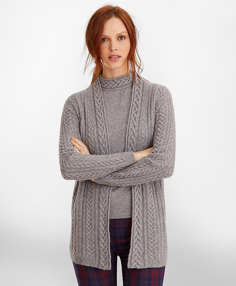 Cable-Knit Cashmere Duster Cardigan 썸네일 이미지 1