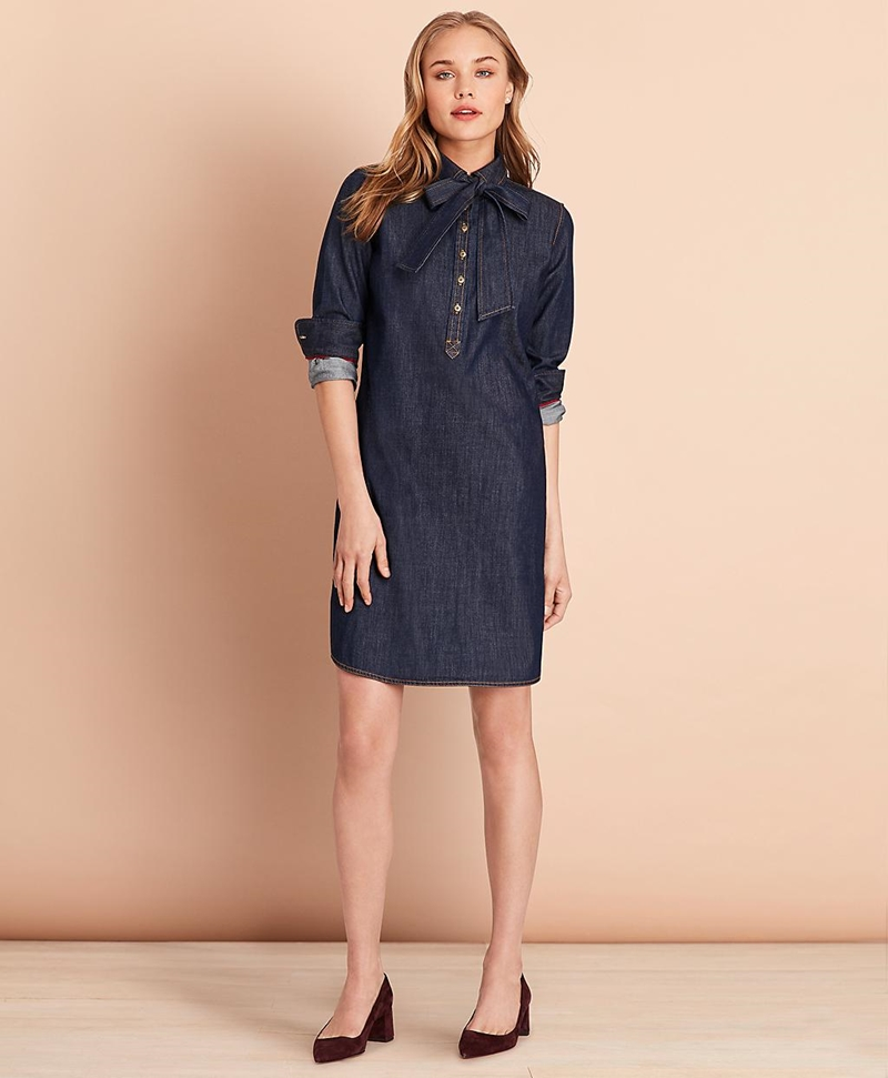 Cotton Denim Shift Dress 썸네일 이미지 1