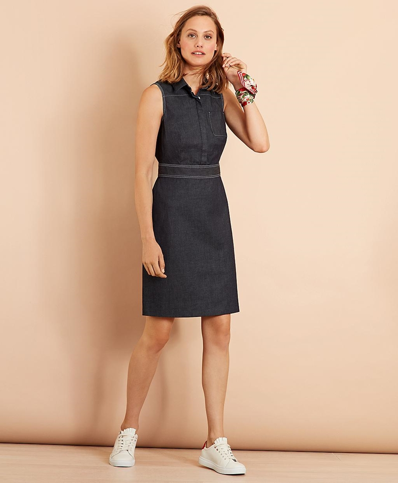 Stretch Cotton Denim Dress 썸네일 이미지 1