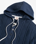 Cable-Knit Hooded Henley Sweater 썸네일 이미지 2