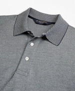 Slim Fit Cotton and Linen Stripe Collar Polo Shirt 썸네일 이미지 2