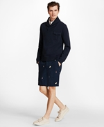 Embroidered Oyster Cotton Twill Shorts 썸네일 이미지 2