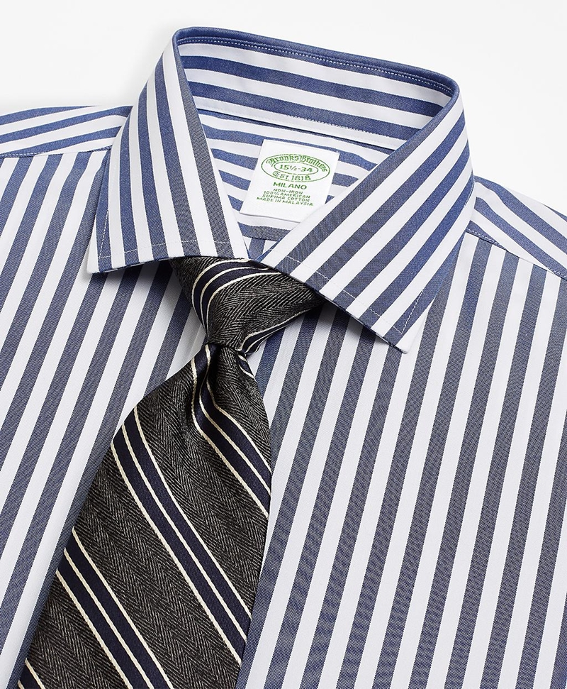 Milano Slim-Fit Dress Shirt, Non-Iron Stripe 썸네일 이미지 2