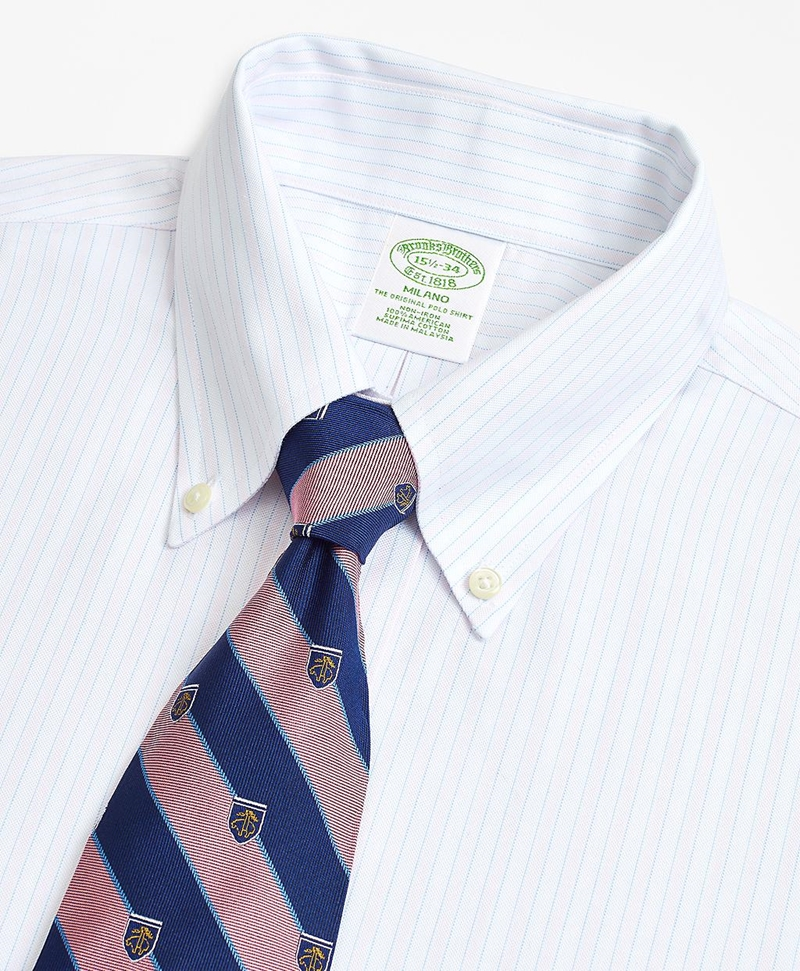 BrooksCool® Milano Slim-Fit Dress Shirt, Non-Iron Stripe 썸네일 이미지 2