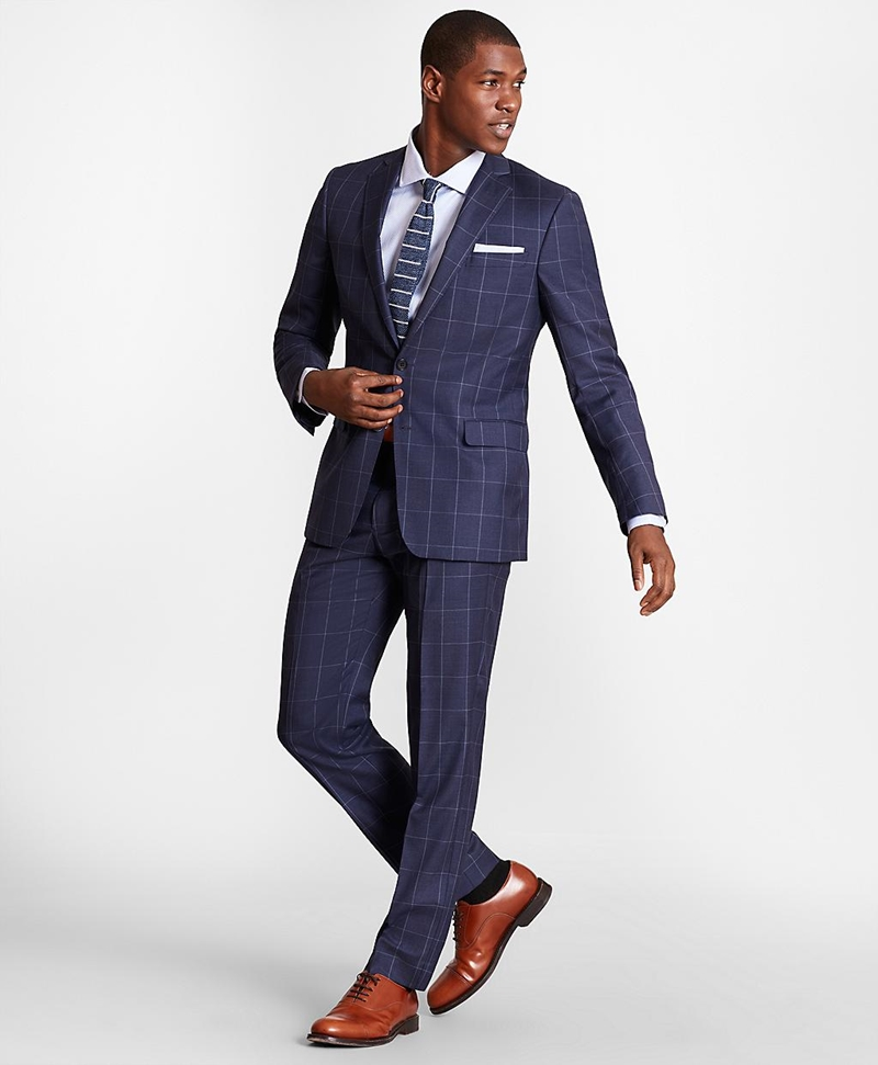 BrooksGate™ Regent-Fit Windowpane Wool Twill Suit Pants 썸네일 이미지 2