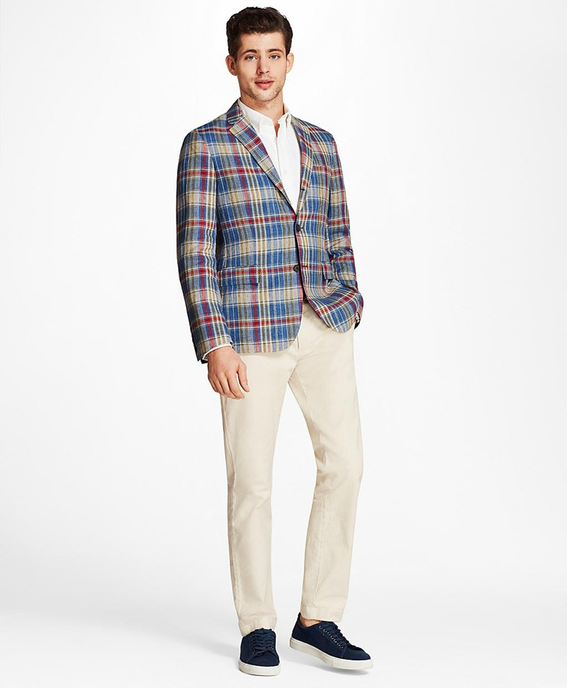 Plaid Three-Button Linen Twill Sport Coat 썸네일 이미지 2