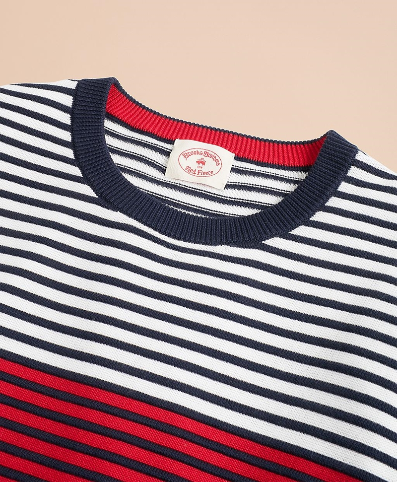 Color-Block Textured Striped Crewneck Sweater 썸네일 이미지 2