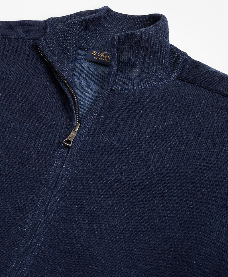 Washable Merino Wool Full-Zip Sweater 썸네일 이미지 2