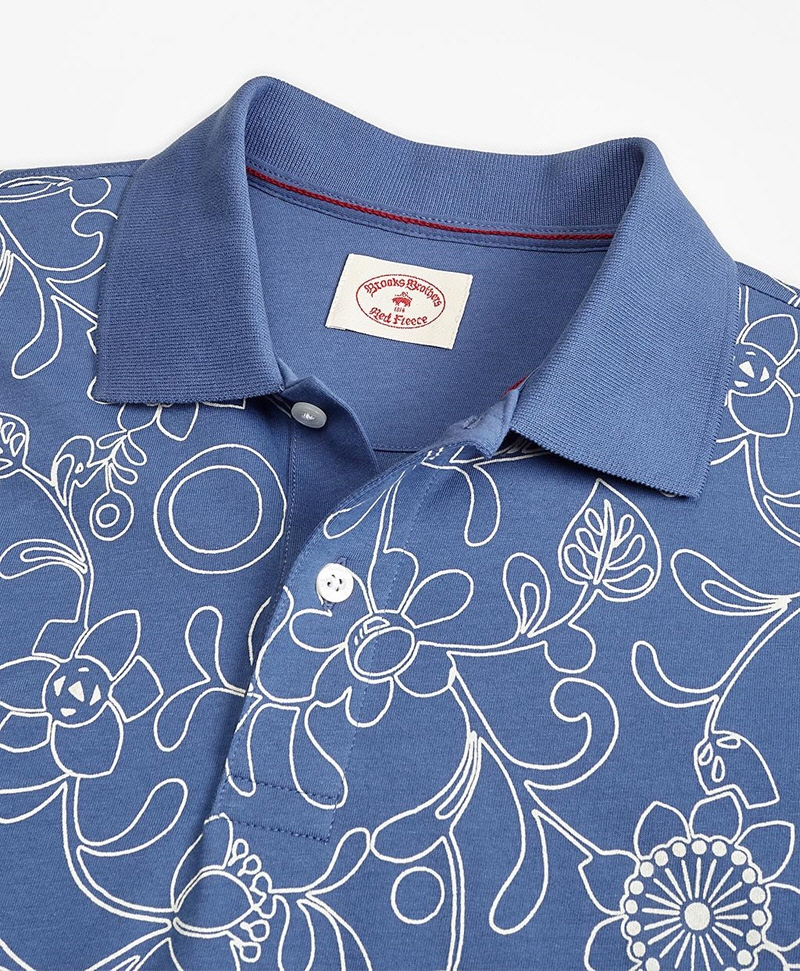 Botanical-Print Cotton Jersey Polo Shirt 썸네일 이미지 2