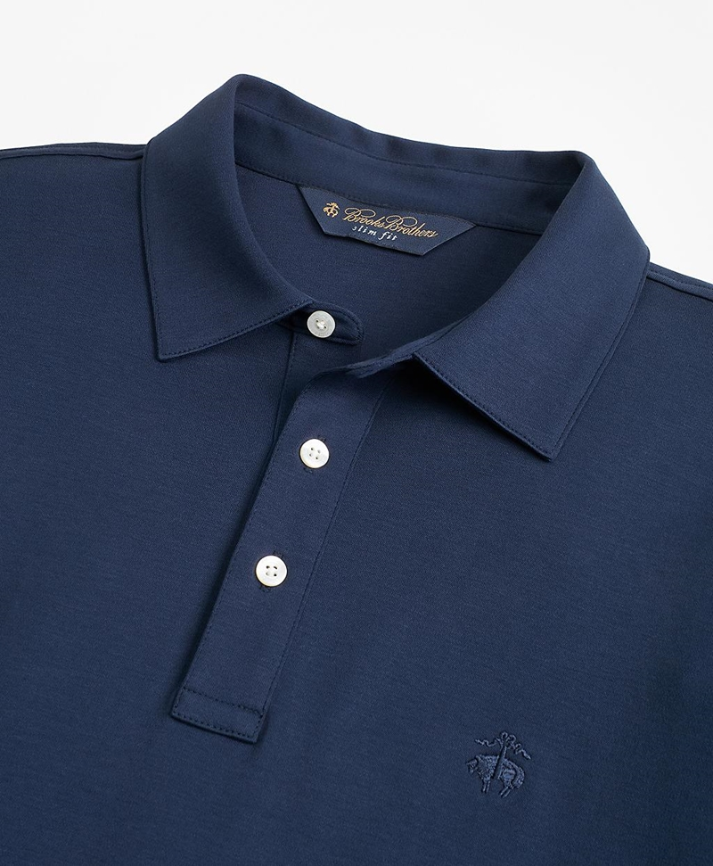 Slim Fit Cotton Jersey Long-Sleeve Polo Shirt 썸네일 이미지 2